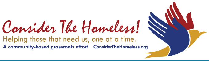 Consider The Homeless!  logo and link to website